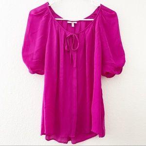 Joie | Berkeley Silk Puff Sleeve Blouse Hot Pink